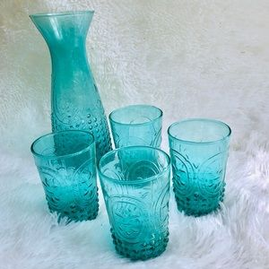 Sea Glass Blue Grooved Decanter & Cup Beverage Set